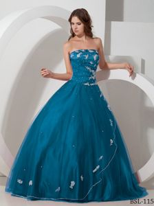 Appliques Blue Beaded Strapless Quinceanera Dress in Yauco Puerto Rico