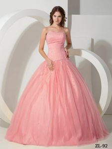 Baby Pink Tulle Beading Quinceanera Dresses in San Fernando de Atabapo