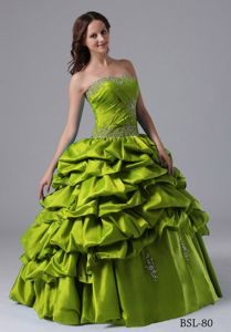 Beading Pick-ups Yellow Green Ruched Quince Dresses in La Esmeralda