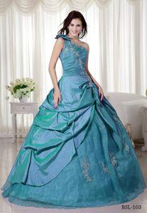 Bow One Shoulder Appliques Blue Quinceanera Dress in La Victoria