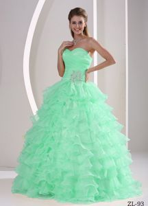 Ruffles Appliques Ruched Apple Green Sweet 15 Quinceanera Dresses
