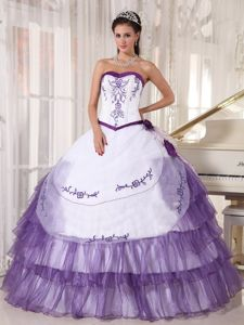 Embroidery Layered White and Purple Independencia Quinceanera Dress