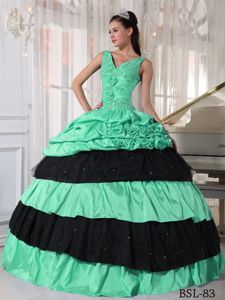 V-neck Flowers Beaded Apple Green and Black Guadalupe Quinceanera Dress