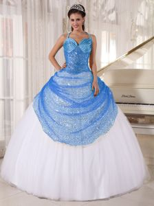 Sequin Halter Blue and White Tulle Appliques Pisco Quinceanera Dress