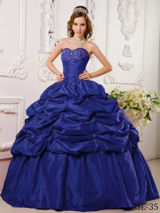Beaded Ruching Navy Blue Appliques Quinceanera Dress in Fernheim Colony