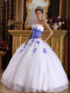 Organza White Fernheim Colony Quinceanera Dress with Purple Appliques