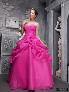 Ruched Flowers Hot Pink Organza Beaded Edelira Quinceanera Dresses