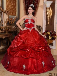 Appliques Wine Red Organza Quinceanera Dress in El Porvenir Kuna Yala