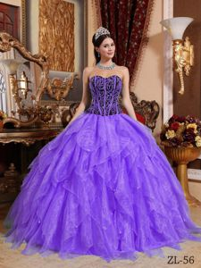 Embroidery Purple Beaded Organza Quinceanera Dress in Valle del Risco