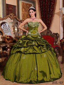 Pick-ups Ruched Appliques Olive Green Quinceanera Dresses in Aguaray