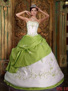 Embroidery Satin Yellow Green and White Quinceanera Dress in Vacamonte