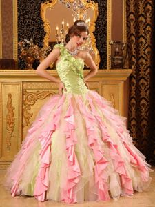 Mulatupo Ruffled One Shoulder Beaded Ruching Colorful Quinceanera Dress