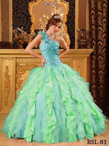Multi-Color One Shoulder Beading Escobal Quinceanera Dress with Ruffles