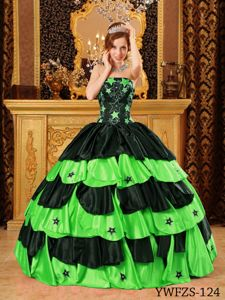 Beading Star Black and Spring Green Quinceanera Dresses in Veracruz
