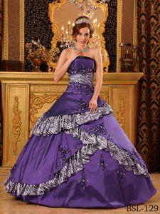 Zebra Purple Embroidery Taffeta Calzada Larga Quinceanera Dress Gown