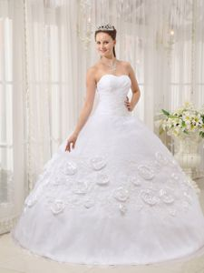 Hand Made Flowers White Organza Appliques Monterrey Quinceanera Gown