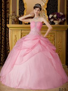 Pink Ball Gown Strapless Floor-length Beading Quinceanera Dress