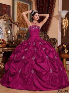 Beading Strapless Appliques Fuchsia Quinceanera Dress in Chiapas