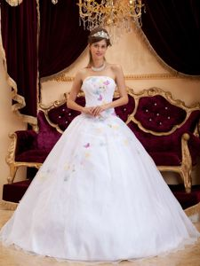 White A-Line Strapless Embroidery Quinceanera Dress in Cancun
