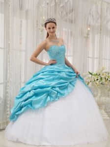 Aqua Blue Sweetheart Beading Sweet 15 Dresses with Pick-ups
