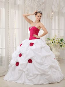 Hot Pink and White Strapless Hand Made Flower Dress for Quince