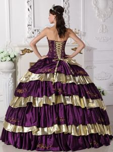 Purple and Gold Strapless Embroidery Ruffled Layers Dress For Quince