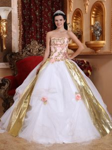 Gold Appliques White Strapless Sweet Sixteen Dresses in Mexicali