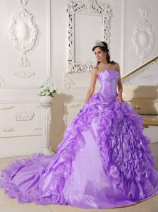 Lavender Strapless Court Train Ruffled Quinceanera Dress in Toluca