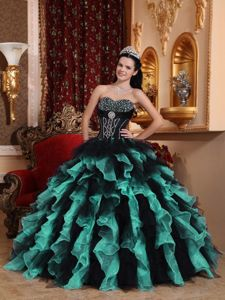 Beaded Sweetheart Ruffled Quince Dresses in Black and Turquoise