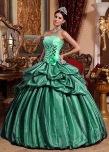 Green Ball Gown Strapless Pick-ups Dress For Quinceanera