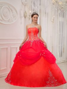 Coral Red Ball Gown Strapless Appliques Quince Dresses Beading