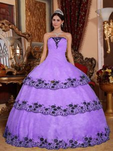 Lavender Strapless Appliques Quinceanera Dress with Embroidery