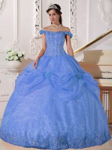Off The Shoulder Appliques Sweet Sixteen Dresses in Light Blue