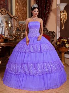 Strapless Floor-length Layered Lace Sweet 15 Dresses in Lavender