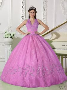 Pink Halter Appliques Beading Sweet Sixteen Quinceanera Dresses
