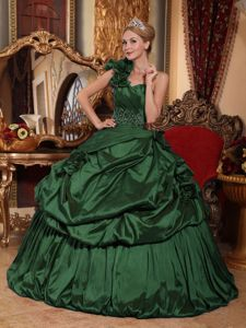 Floral One Shoulder Beading Quinceanera Gowns in Dark Green