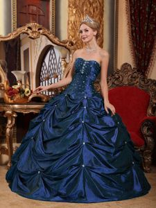 Strapless Floor-length Beading Sweet 16 Dresses in Navy Blue