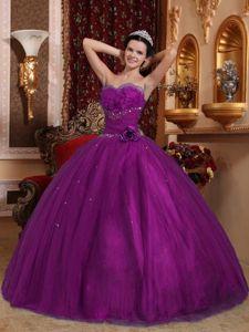 Ruffled Sweetheart Beading Sweet 15 Dresses in Eggplant Purple