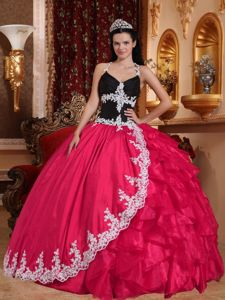 Halter Black and Red Ball Gown Appliques Quinceanera Dress