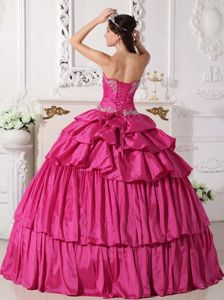 Detachable Hot Pink Sweetheart Beading Sweet 15 Dresses