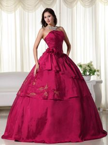 Wine Red Ball Gown Strapless Floor-length Quinceanera Dress