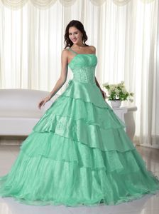 Ball Gown One Shoulder Mint Green Beading Quinceanera Dress