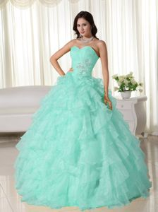 Sweetheart Floor-length Quinceanera Dress in Mint Green with Ruffles
