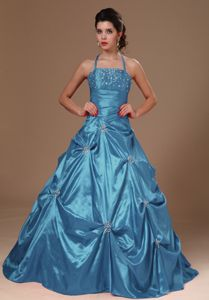 Pick-ups Halter A-line Quinceanera Dresses with Beading in Blue