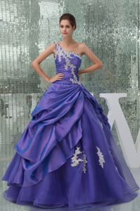 Appliques Purple Long Quinceanera Dress A-line One Shoulder