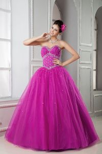 Fuchsia Beading Quinceanera Gowns Sweetheart in Chiquimulilla