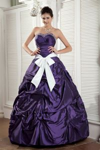 Beading Sweetheart Floor-length Sash Purple Quinceanea Dress