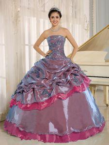Multi-color Beaded Quinceanera Dress Strapless in La Democracia