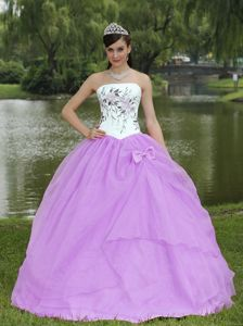 Embroidery Lavender Sweet Sixteen Dresses Strapless Floor-length