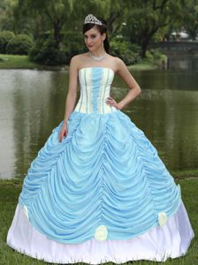 Quinceanera Dress Strapless in Baby Blue and Pick-ups in Jalapa